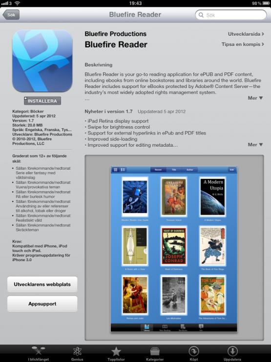 Bluefire reader, App Store