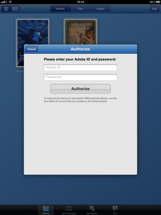Bluefire Reader Adobe ID login