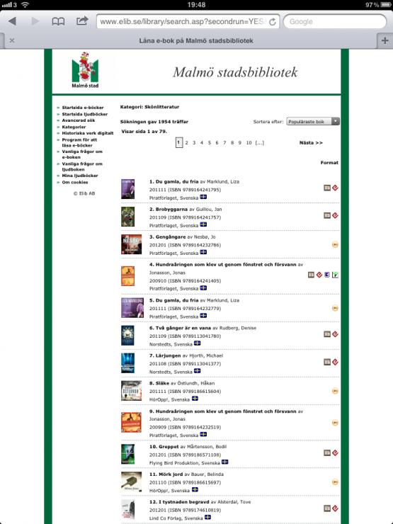 Malmö stadsbibliotek E-Böcker Skönlitteratur
