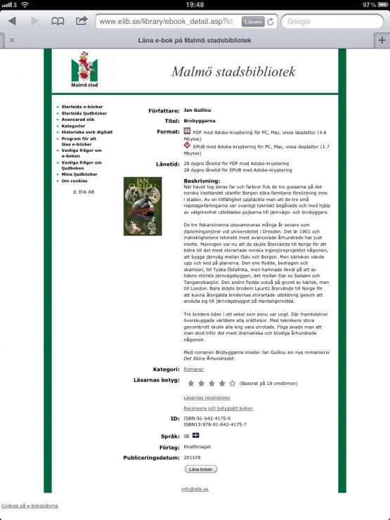 Malmö stadsbibliotek E-Böcker Skönlitteratur Brobyggarna