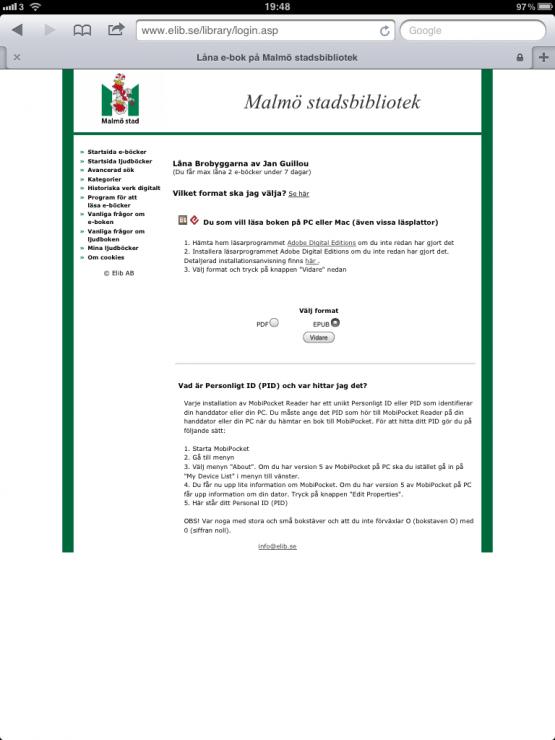 Malmö stadsbibliotek E-Böcker Skönlitteratur Brobyggarna Lån 1