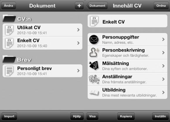 App, Mitt CV