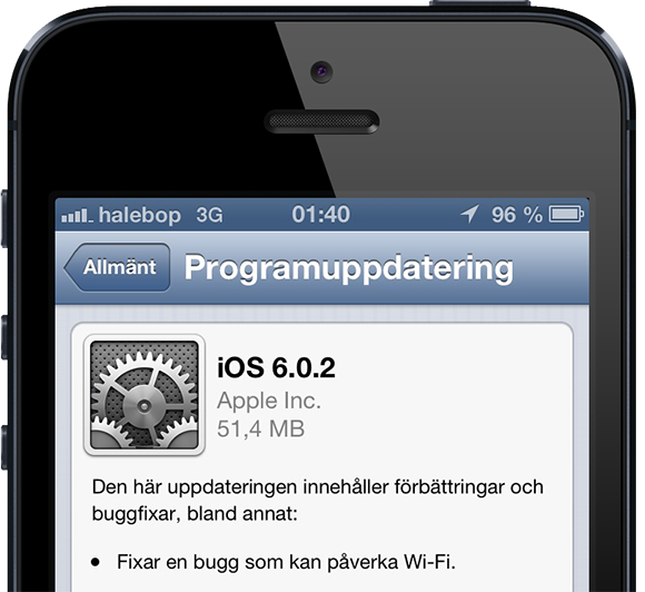 kan inte uppdatera iphone