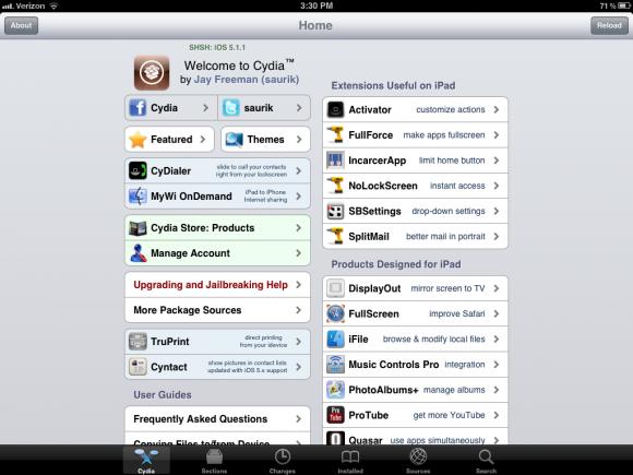 Startskärmen i Cydia på iPad.
