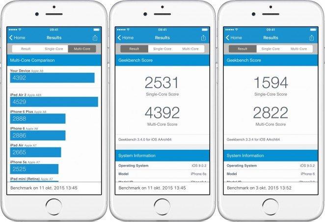 Här ser vi hur snabb iPhone 6s är. Längst till höger är förra årets iPhone.