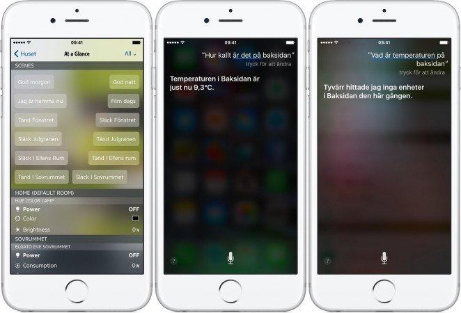 Scener kan aktiveras direkt i appen eller med hjälp av Siri. När Siri är på bra humör vill säga.