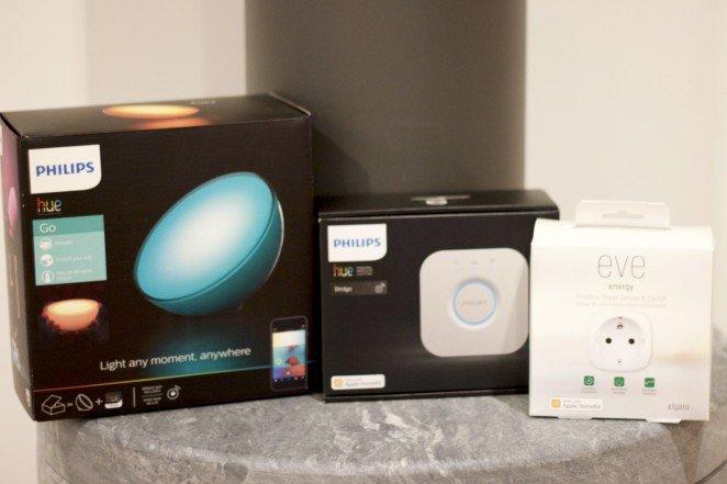 Det fina med HomeKit är att Philips Hue och Elgato Eve Energy kan samarbeta.