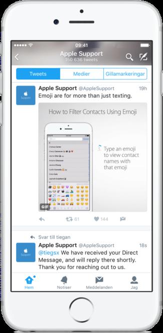 Apple Support på Twitter ger smarta tips och bra support.