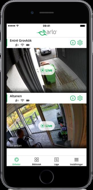 """Installerade kameror ger en tydlig överblick i den otroligt välkomponerade appen """"Arlo""""."""