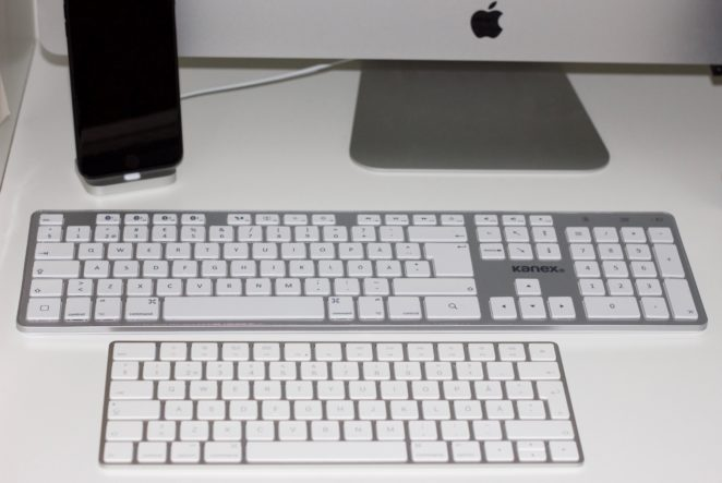 Kanex överst i jämförelse med Magic Keyboard 2.